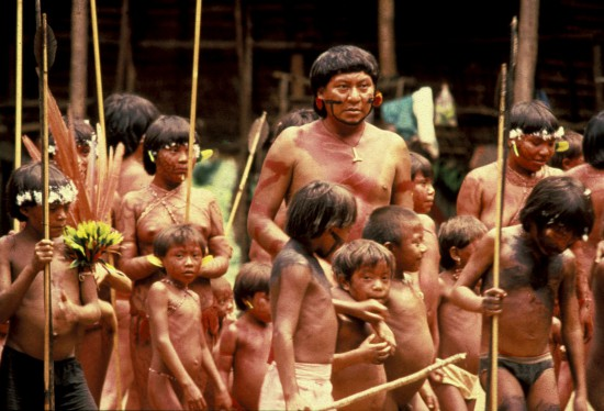 Davi Yanomami with Yanomami children, Brazil